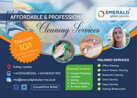 Cleaning company EMERALD GLOBAL SERVICE / Discount 10 % For First Cleaning your place